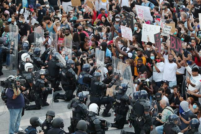 Police with riot shields at BLM protests (PA Images)