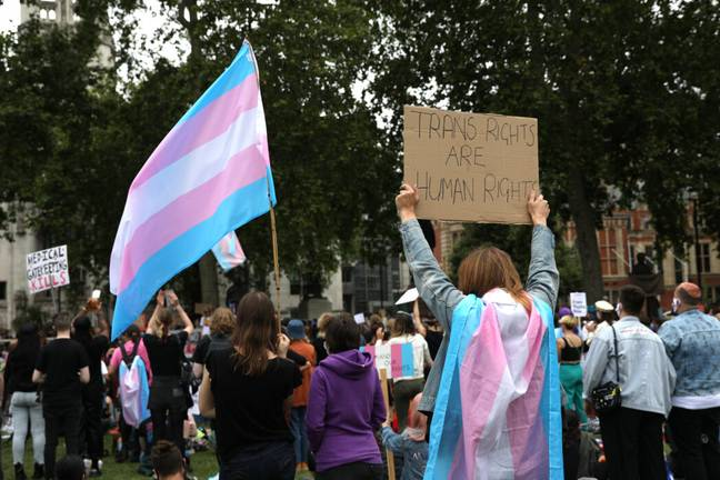 Protestor with trans flag (PA)