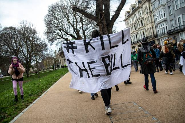 Protestors holding Kill The Bill sign (PA Images)