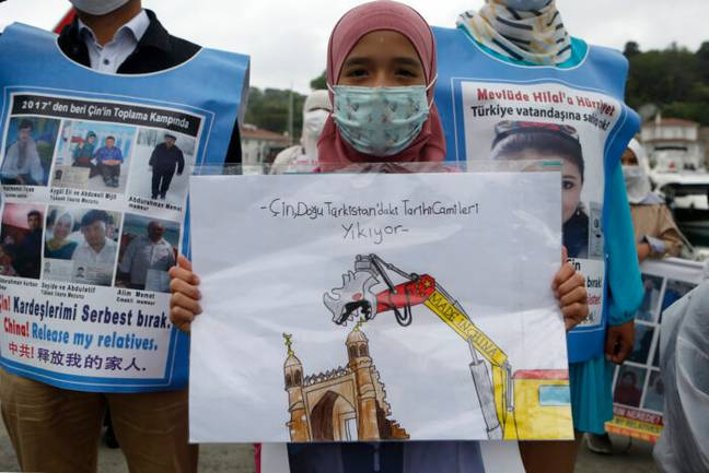 Protest in China against treatment of Uyghurs (PA Images)
