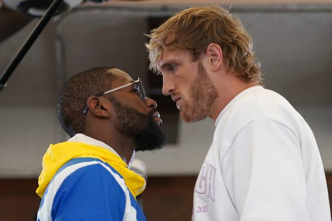 Floyd Mayweather and Logan Paul face off ahead of fight (PA Images)