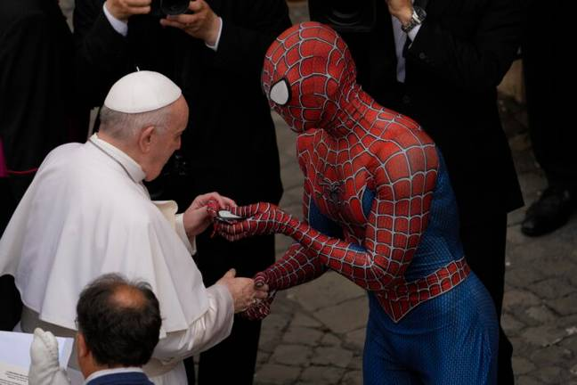 Pope and Spider-Man (PA Images)