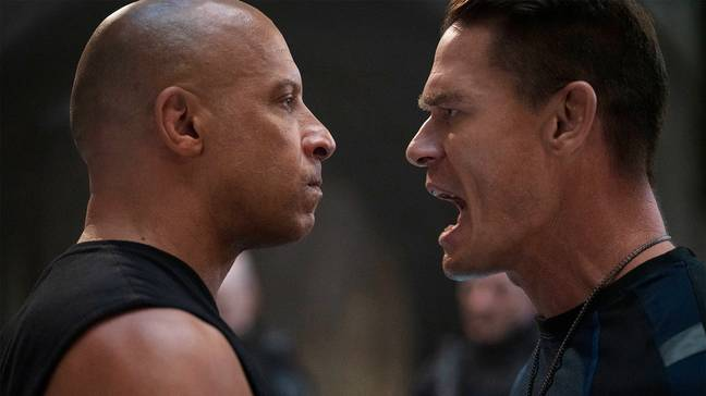 Vin Diesel and John Cena in F9. (Universal Pictures)