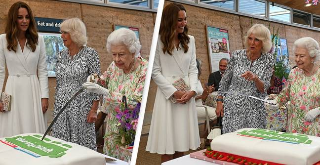 Queen Insists On Cutting Cake Using Massive Ceremonial Sword