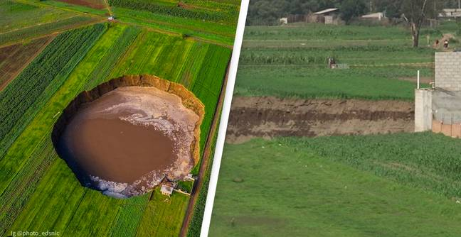 Massive 124-Metre Sinkhole Swallows House After Appearing Out Of Nowhere