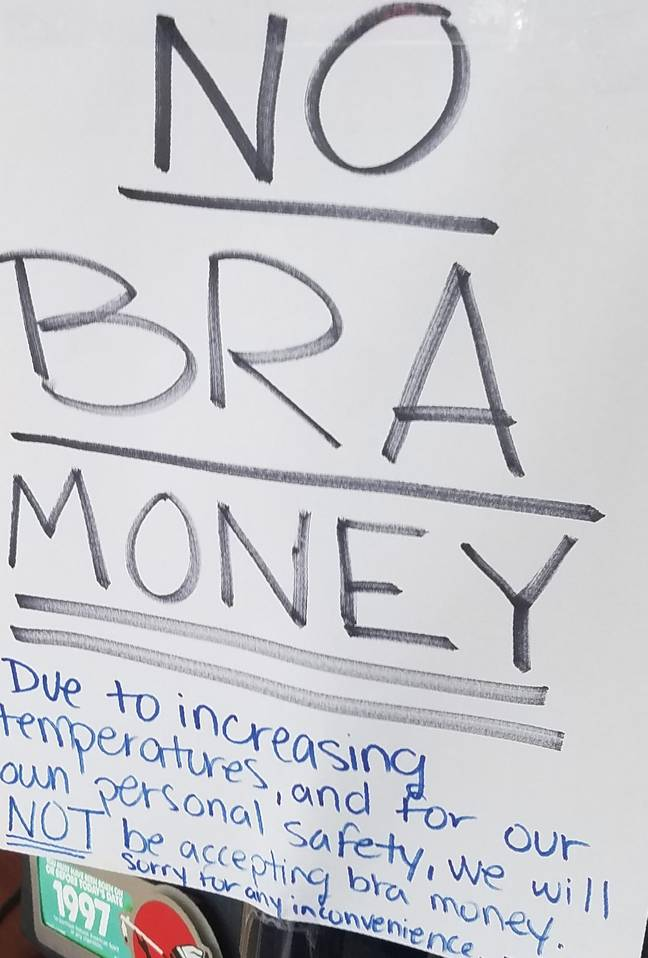 Shop bans customers from paying with bra money (Mattress Mick/Facebook)