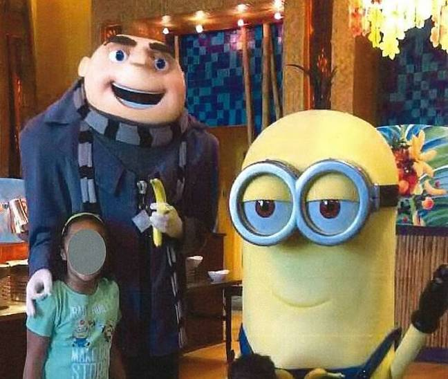 An actor dressed as Gru has been accused of flashing a white power symbol. (Richard Zinger)