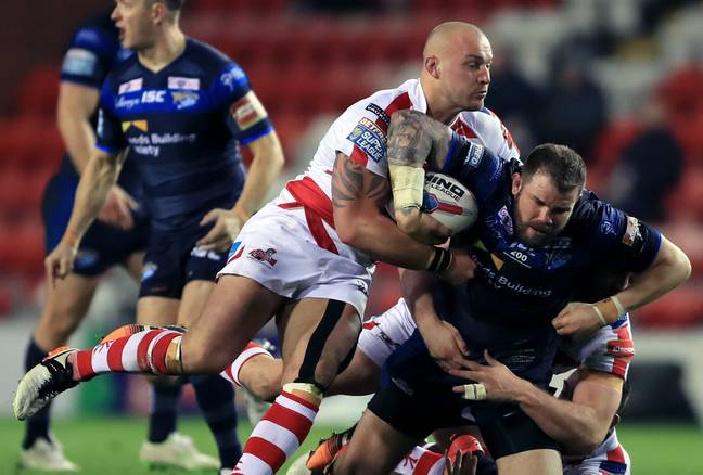 Leigh Centurions Jamie Acton (left) during the Super League match at Leigh Sports Village. (PA)