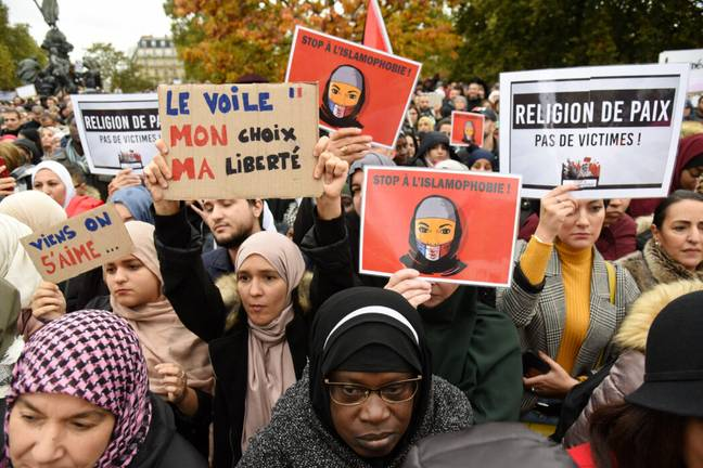 French Muslims protest bans on religious coverings (PA Images)