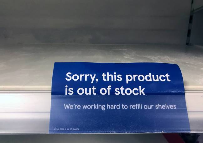 Tesco 'out of stock' sign (PA)