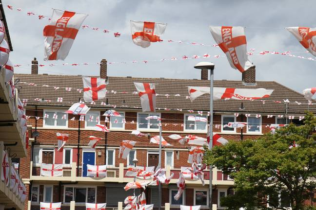 England flags on display in British street (PA Images)