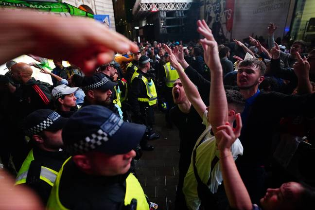 England fans clash with police (PA Images)
