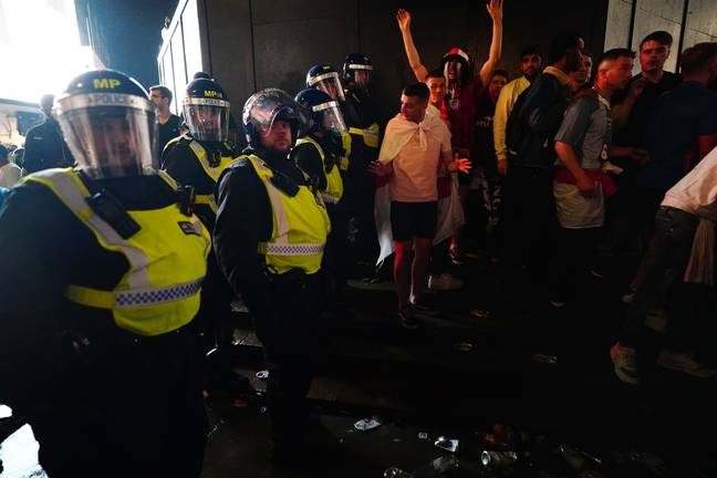 England fans clash with police. (PA Images)