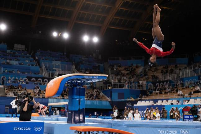 Simone Biles vaulting at the Olympics (PA Images)
