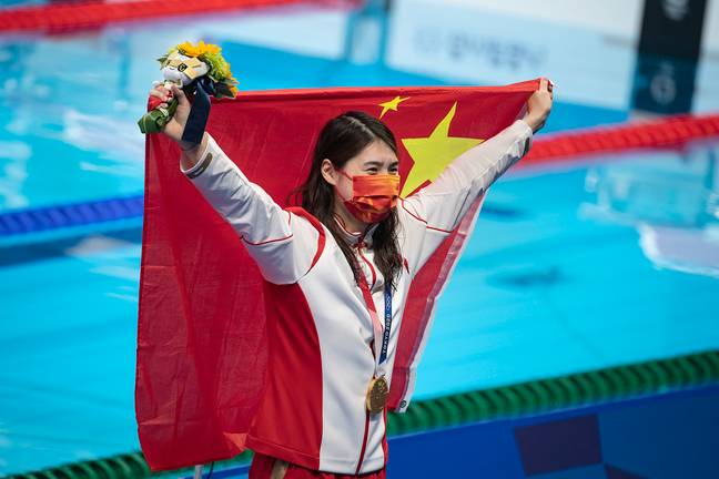 Yufei ZHANG (CHN) with Chinese flag (PA)