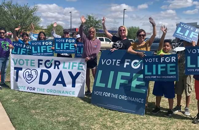 Anti-abortion campaigners in Lubbock, Texas (Project Destiny Lubbock/Facebook)