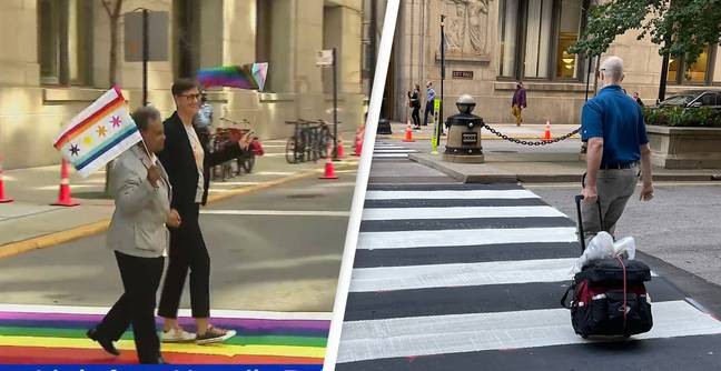 City Mocked For Covering Up Rainbow Crosswalk The Moment Pride Month Ended