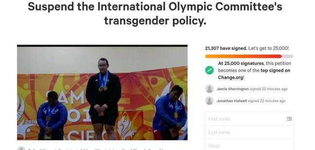 Petition calling for an end to the International Olympic Committee transgender policy (Change.org)