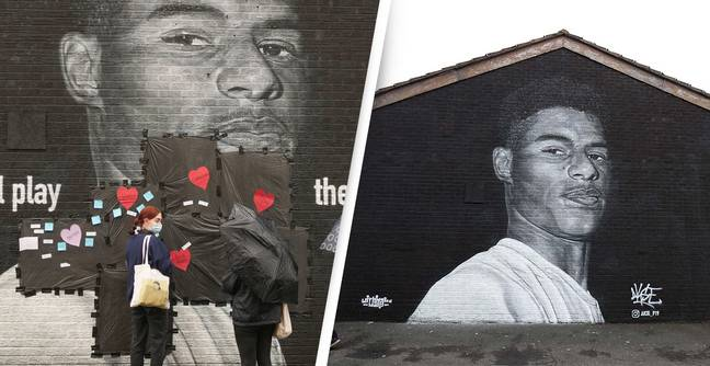 Residents Leave Hearts and Messages To Cover Up Racist Graffiti On Rashford Mural