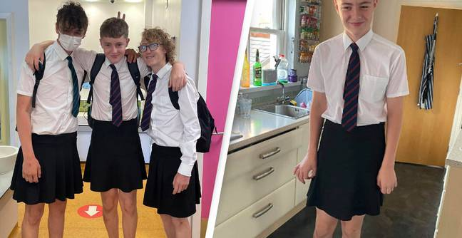 School Boys Wear Skirts After Being Banned From Wearing Shorts During Heatwave