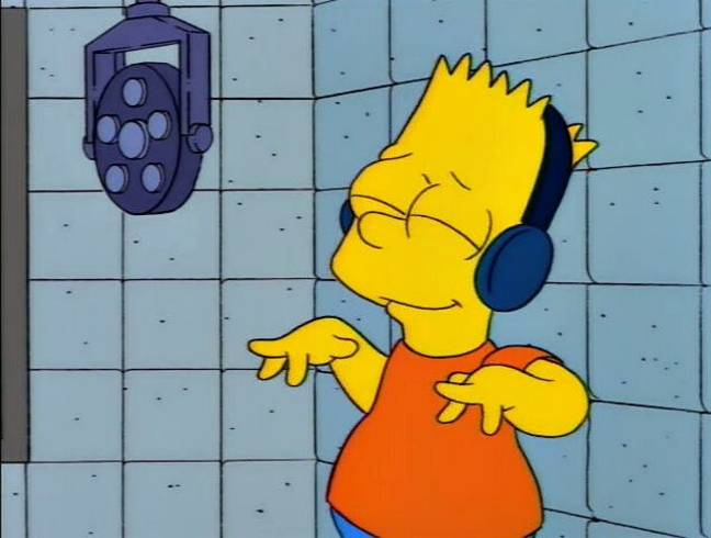 Bart Simpson listening to music. (20th Television)