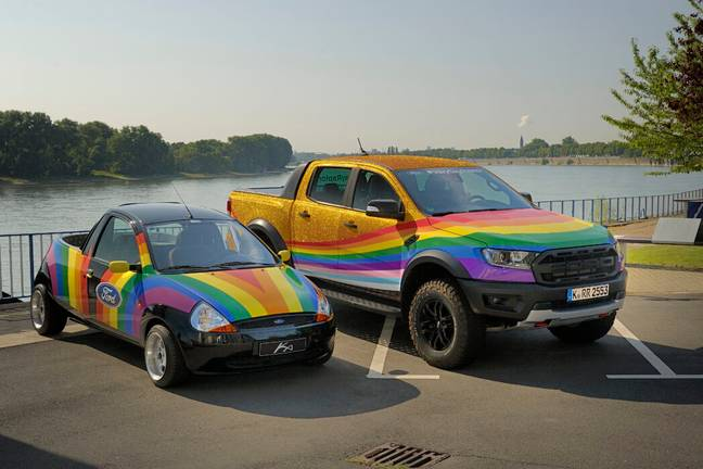 Ford Ka pick-up and its big brother, the Ford 'Very Gay Raptor' (Ford)