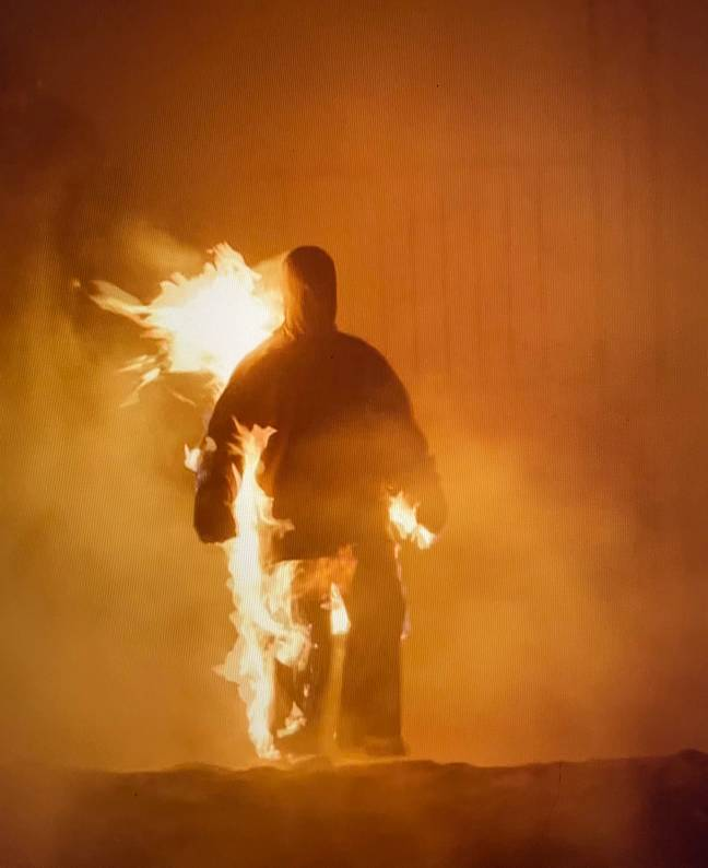 Kanye West Brought Out Marilyn Manson And Dababy For Donda Party Then Set Himself On Fire