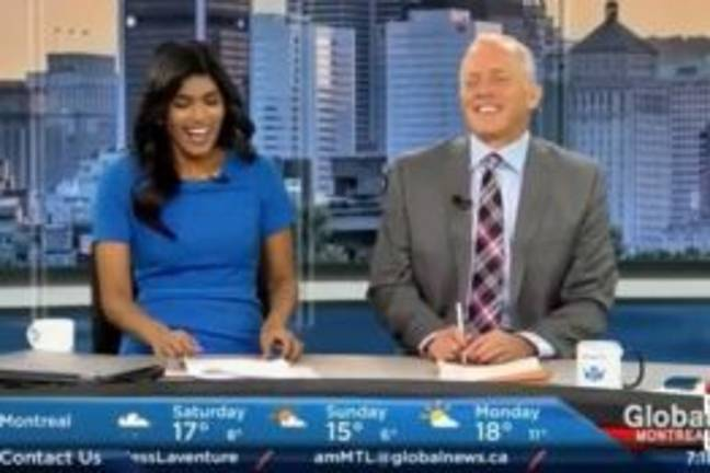 News reporters laughing at James Bates as 'flight attendant'