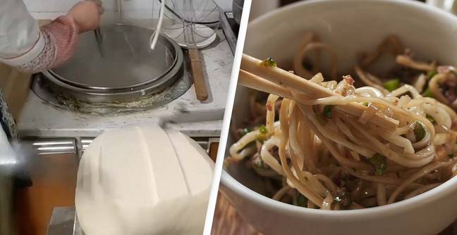 Noodle Fans Mesmerised By Incredible 'Noodle Cutting Machine'