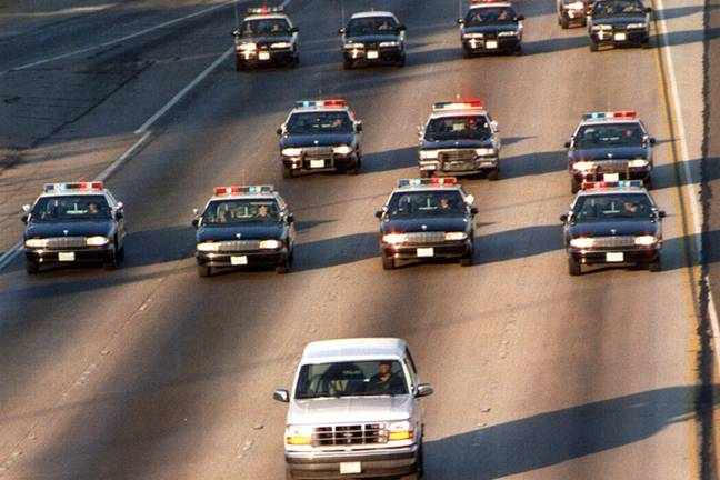 OJ Simpson chased in LA (PA Images)