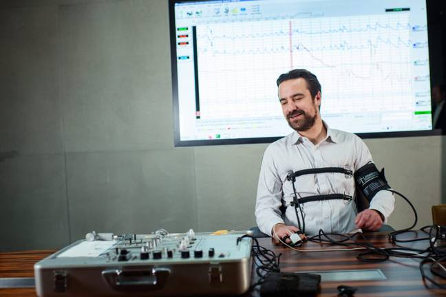 A man taking a lie detector test (PA Images)
