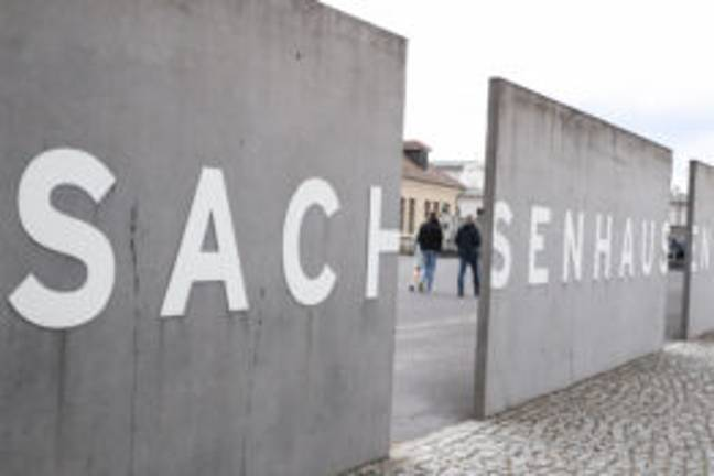 the entrance of the Sachsenhausen memorial in Oranienburg, Germany (PA Images)