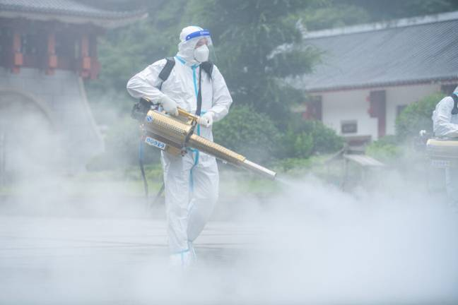 Streets sprayed with disinfectant (PA Images)