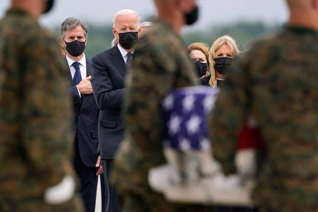 President Biden at ceremony transferring the remains of US soldiers killed in Afghanistan (PA Images)