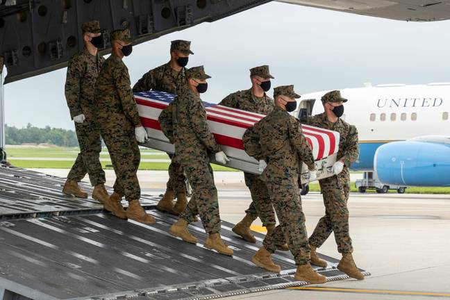 The coffin of a US soldier killed in Kabul suicide bombing (PA Images)