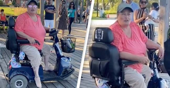 Self-Proclaimed Witch 'Karen' Starts Racist Rant While Speeding On Mobility Scooter
