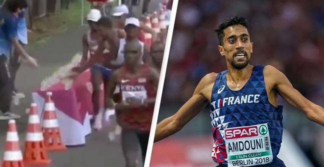 People Divided Over Whether Marathon Runner Deliberately Knocked Over Water Bottles During Race