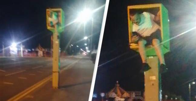 Prankster Climbs Into Speed Camera And Flashes Cars With His Phone