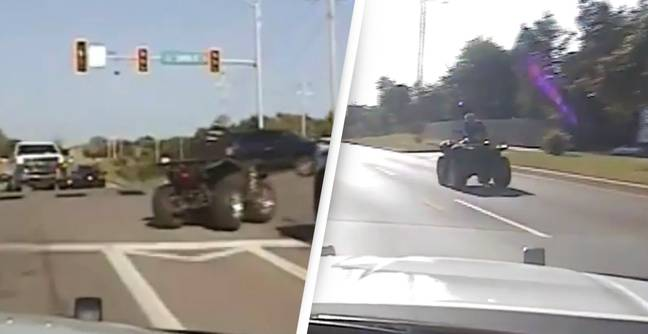 Man In Handcuffs Escapes Police And Steals A Quad Bike Leading To High Speed Chase