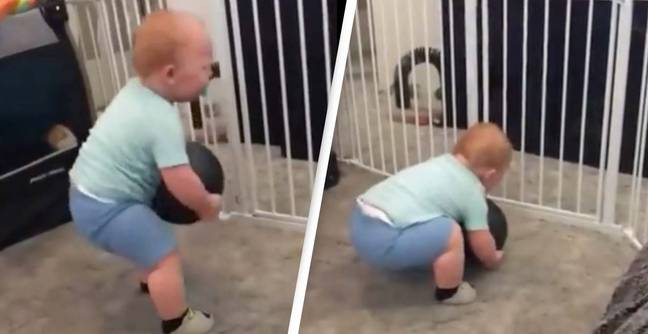 Incredible Video Shows Super-Strong One-Year-Old Picking Up 15lbs Ball