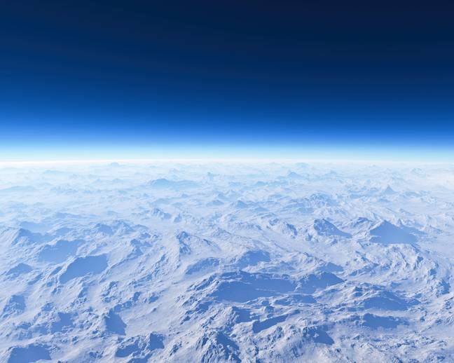 Satellite view, atmosphere and ozone layer. Climate changes. Ozone hole. Sun protection. Layers of the atmosphere.