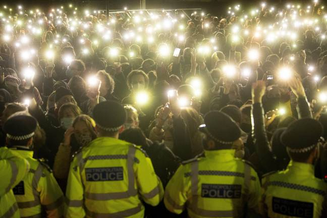 Sarah Everard - File photo dated 13/03/21 of people in the crowd turning on their phone torches in Clapham Common, London, for a vigil for Sarah Everard. Preventing violence against women and girls should be considered as much of a priority as counter-terrorism, a police watchdog has said. Issue date: Friday September 17, 2021