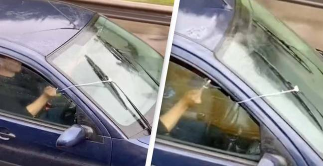 Footage Shows Driver's Dangerous Yet Creative DIY Windscreen Wipers