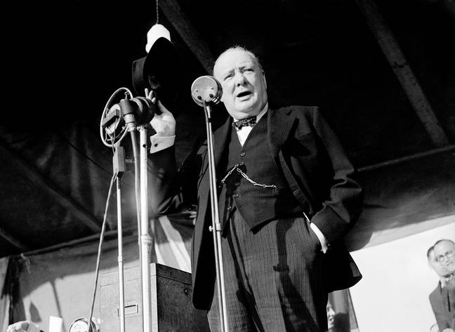 Prime Minister Winston Churchill addresses the audience of over 20,000 at Walthamstow Stadium, London. -PA/PA Archive/PA Images