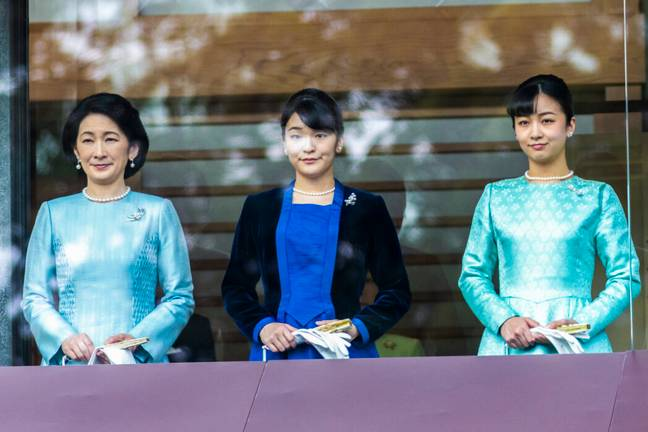 Princess Mako (centre) with her mother and sister (PA Images)