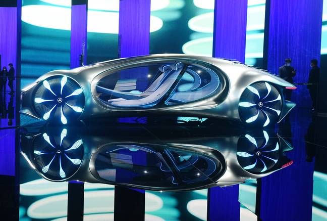 """SHANGHAI, CHINA - APRIL 19, 2021 - A Mercedes-Benz Vision AVTR concept car is seen at the Shanghai Auto Show in Shanghai, China, April 19, 2021. The car's design and naming were inspired by the movie """"Avatar. - Costfoto/SIPA USA/PA Images"""