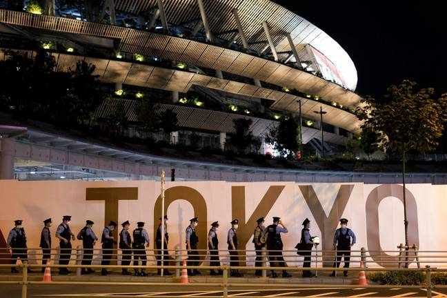 Police officers at the Tokyo Paralympics (PA Images)