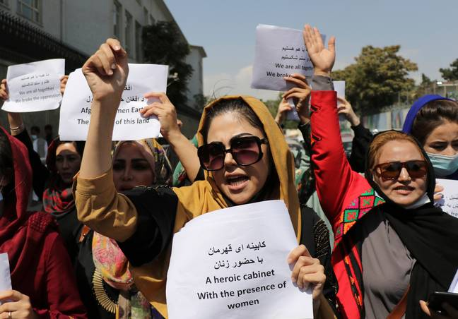 Women's rights protest in Afghanistan. (PA Images)