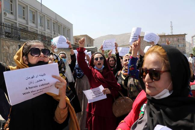 Female protestors in Afghanistan (PA Images)