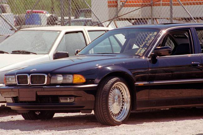 The BMW in which Tupac was shot (PA Images)
